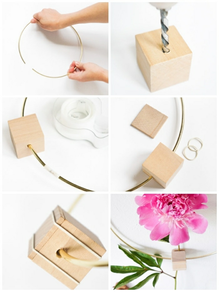 cerceau métallique, cubes à percer, fleur rose, créer un décor mural intéressant