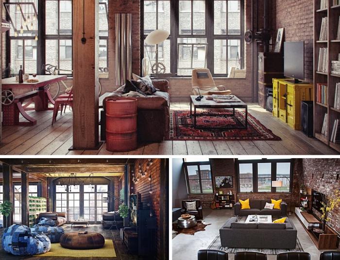 chaise style industriel en fer, déco salon industriel aux murs en briques avec plancher béton, modèle canapé en gris anthracite