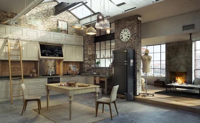 idée deco murale industrielle avec briques, comment décorer un espace loft avec matériaux bruts bois et briques