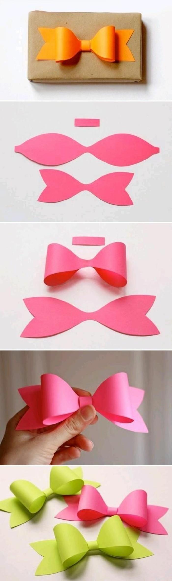 tutoriel comment faire des noeuds papillons en papier scrapbooking, que faire avec du papier coloré, idée emballage original