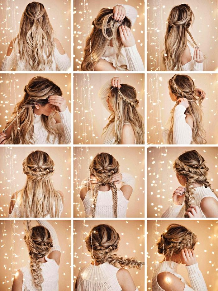 chignon bas et flou réalisé à partir de quelques tresses épi de blé, coiffure romantique avec cheveux tressés