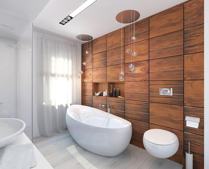 Bois mur baignoire et lavabo,