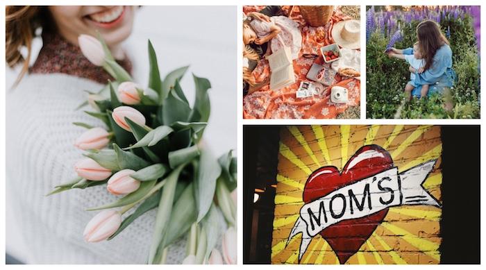 Femme avec bouquet de fleurs, mère et enfant champs, pique nique, photo de graffiti original, bonne fete des meres, carte fête des mères, collage pour ma mère
