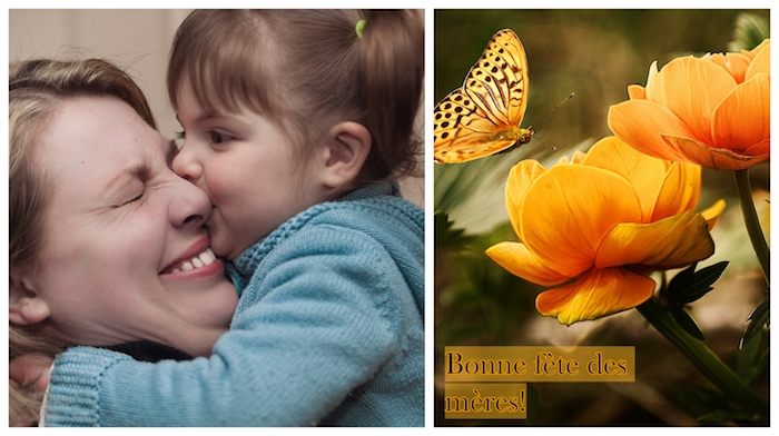 Mère et enfant bisou, bonne fête des mères, idee fete des meres, inspiration pour la fete, fleurs oranges et papillon