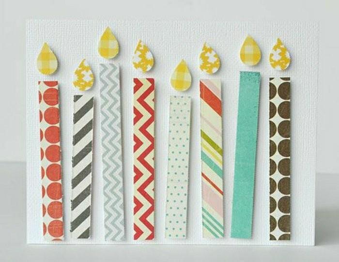 carte d'anniversaire personnalisée en papier texturé ornée de bougies en relief en papier cartonné imprimé