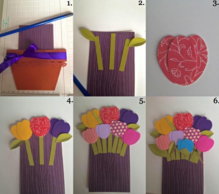 tuto pas à pas pour faire une carte bouquet de tulipes en papier à l'occasion de la fête des mères, idée de cadeau fête des mères a faire soi meme