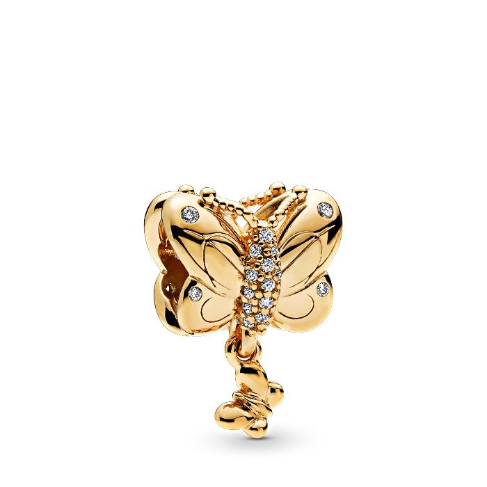 pendentif papillon en argent doré pour bracelet pandora, idée de cadeau personnalisable pour la fête des mères