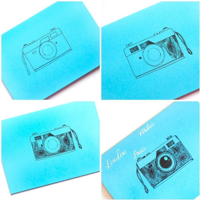 tutoriel pour réaliser un dessin d'anniversaire facile, carte d'anniversaire bleu à dessin appareil photo fait main