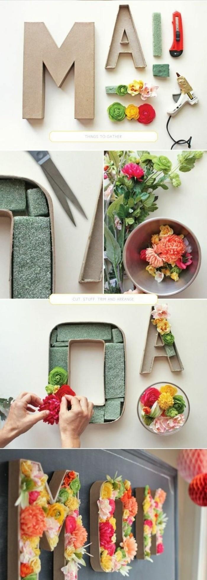 déco florale avec carton et fleurs artificielles, lettres murales décoratives, arrangement mural
