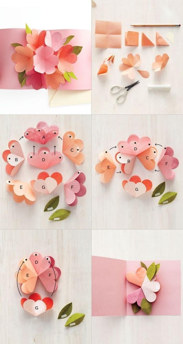 une carte pop up faite-maison décorée de fleurs en papier en nuances du rose, tutoriel pour apprendre à fabriquer une carte pop-up facile