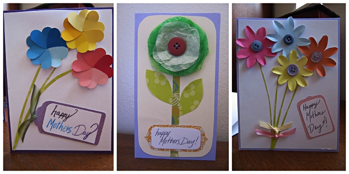 trois modèles de carte d'anniversaire à faire soi-même, des cartes ornées de fleurs en papier et d'une étiquette personnalisée
