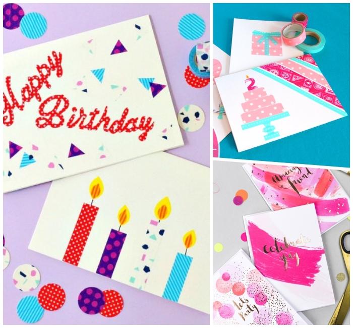 jolies cartes anniversaire à réaliser soi même, décorées avec du masking tape, des motifs et du lettrage en masking tape