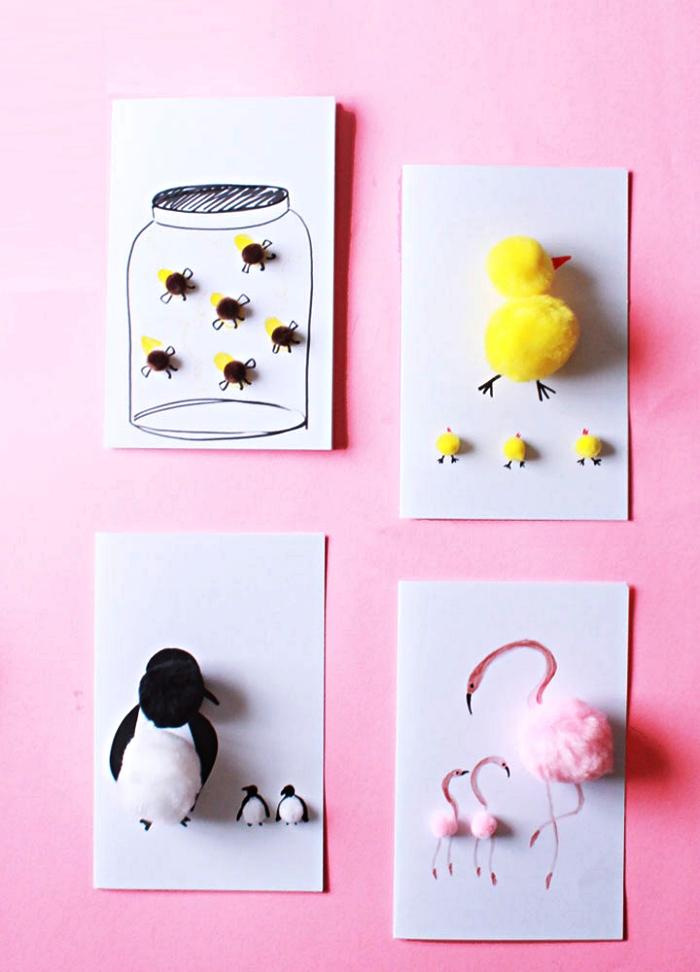 jolies cartes d'anniversaire décorées avec pompons et dessins animaux mignons, idée de bricolage fête des mères pour tout petit