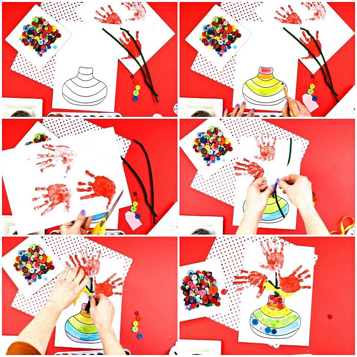 bricolage fête des mères maternelle, carte fête des mères avec coloriage vase et des empreintes de mains en forme de fleurs