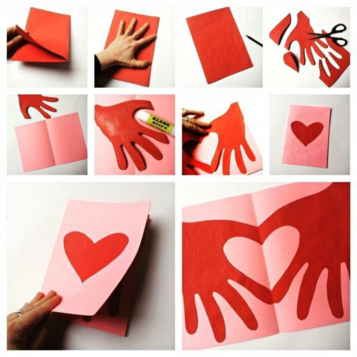 une carte pour la fête des mères à réaliser avec les enfants en maternelle, carte coeur réalisé avec les empreintes de mains découpées
