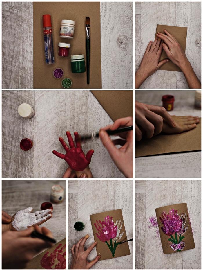 carte faite-maison avec dessin fete des meres fleurs réalisées avec empreintes des mains