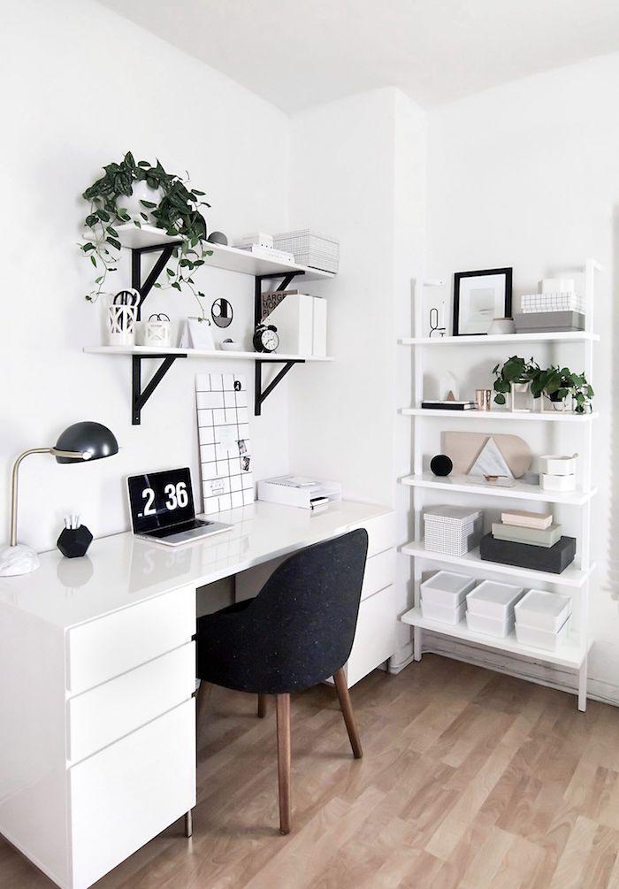 Coin bureau style scandinave, la plus belle chambre 10m2, comment bien ranger sa chambre, décoration étagère rangement plante verte