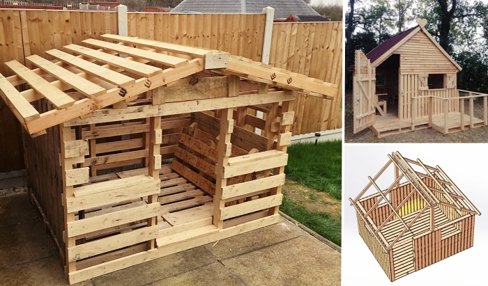 exemple comment construire une cabane pour cour arrière, idée abri pour jeux d'enfant à réaliser soi-même avec bois recyclé