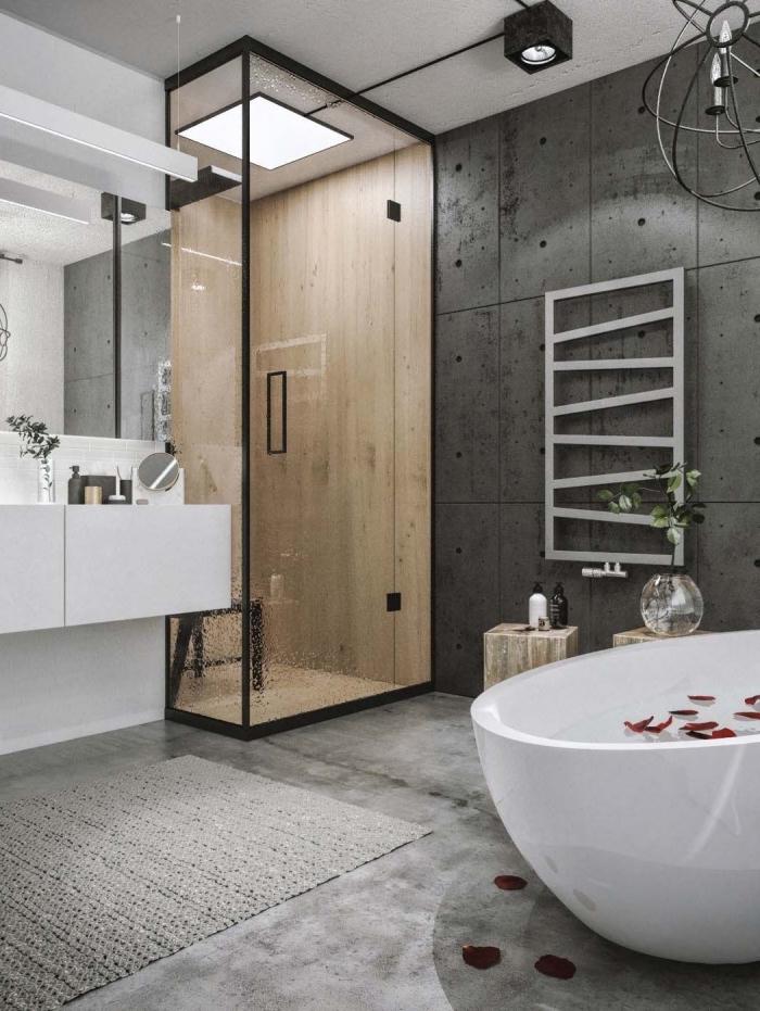 design intérieur contemporain dans une salle de bain gris et blanc, agencement salle de bain avec douche et baignoire