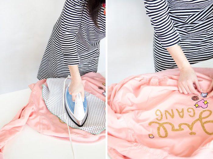 personnaliser ses vêtements avec la technique transfert lettres gliter sur tissu, modèle veste en rose pastel personnalisée, idée cadeau a fabriquer