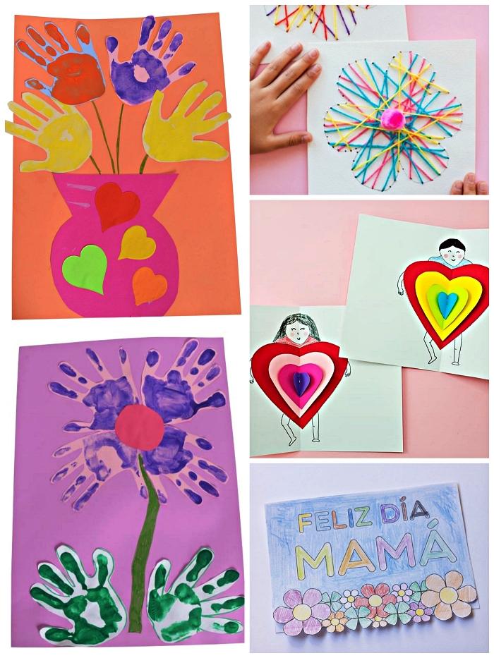modèles de cartes pour le fête des mères faites-mains, carte bonne fête maman avec empreintes de mains