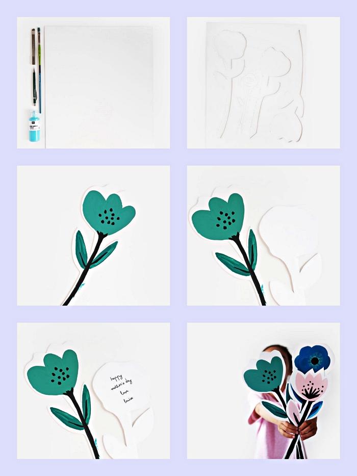 une jolie carte en forme de fleur à imprimer pour souhaiter bonne fête des mères, activité ludique à faire avec les enfants de la maternelle
