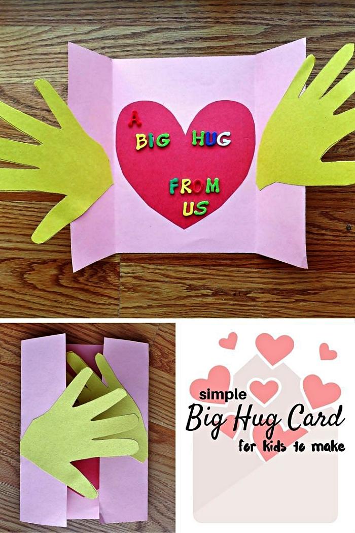 idée de cadeau fête des mères a faire soi meme, carte coeur à trois volets avec empreintes de mains découpées dans du papier