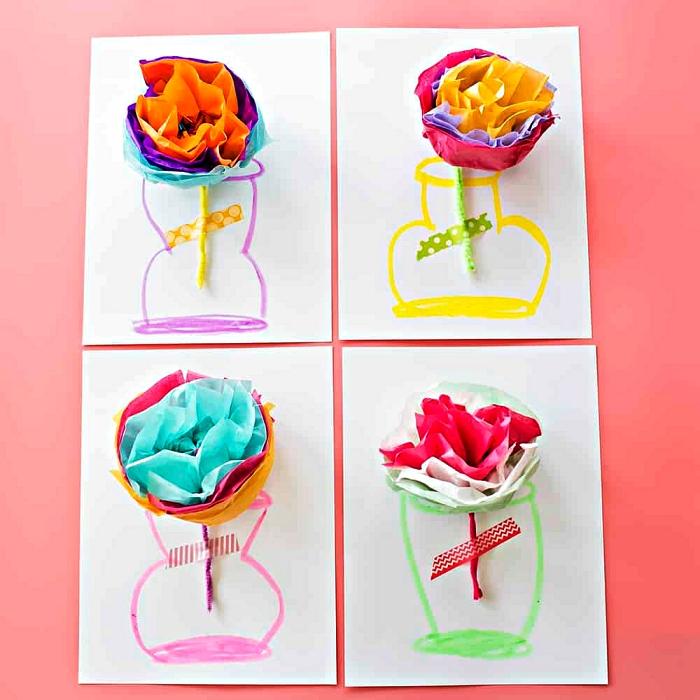 cadeau fête des mères à fabriquer soi-même, carte personnalisée dessin vase décorée de fleur en papier de soie