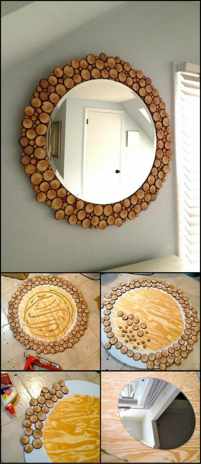 miroir encadré de rondins de bois, miroir rond décoré comme deco a faire soi meme