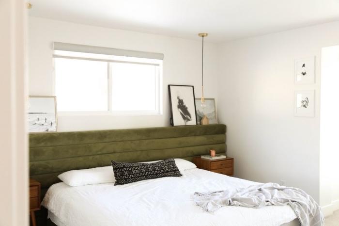 diy tete de lit a faire soi meme, comment réaliser une tête de lit sur le mur, décoration chambre à coucher minimaliste