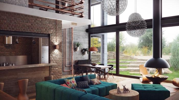 design intérieur contemporain dans un salon industriel moderne, modèle cheminée ronde en métal, idée panneaux bois gris