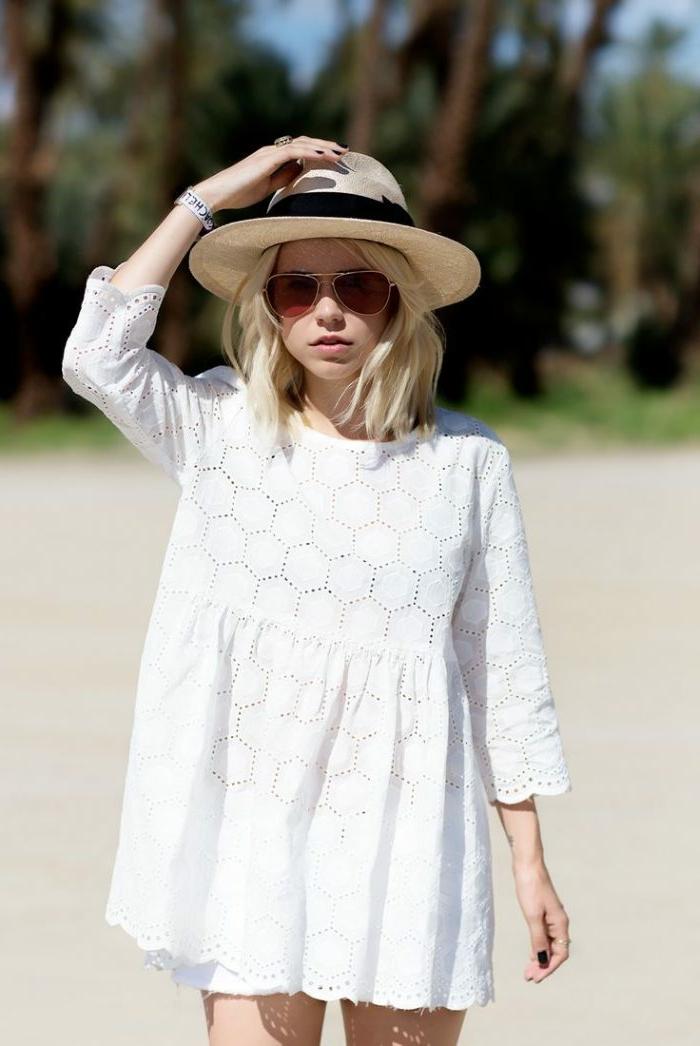 chapeau été blanc, robe blanche bohème, chapeau mariage femme, lunettes de soleil