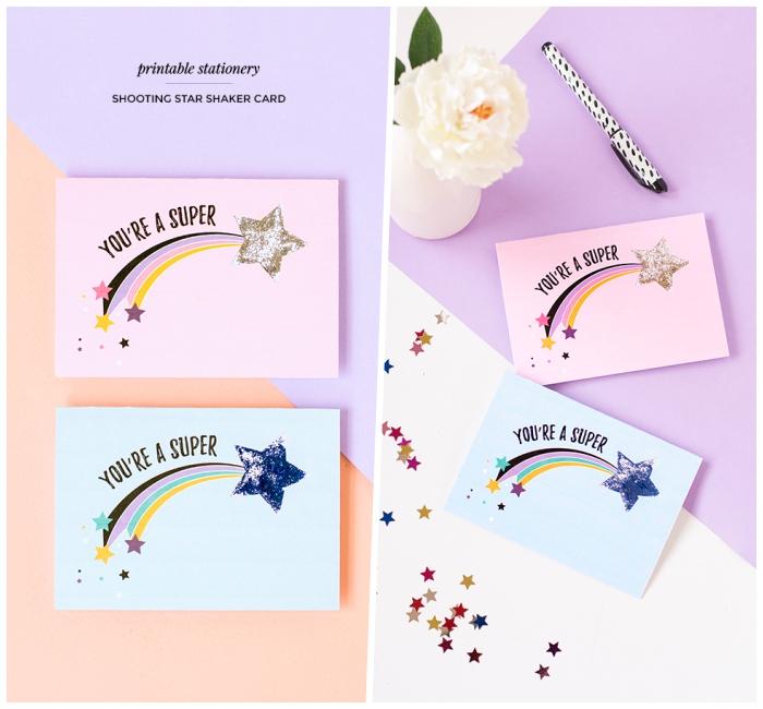 créer carte anniversaire gratuite a imprimer avec photo d'étoile filante, modèle de carte de voeux personnalisée avec message tu es super star