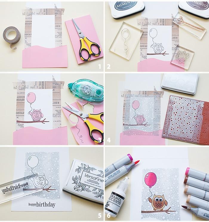 tutoriel pour personnaliser une carte anniversaire enfant à l'aide des tampons transparents, carte de voeux faite-maison à motif hibou perché sur une branche