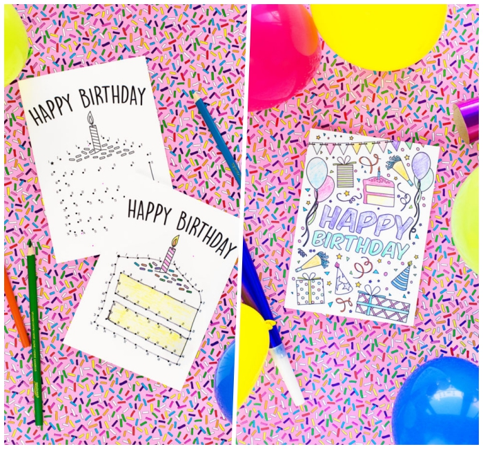 comment faire une carte d'anniversaire originale, trois modèles de cartes de voeux originales avec jeu de coloriage, de mots mêlés ou de points à relier