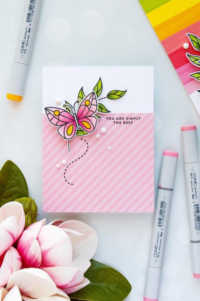 carte anniversaire petite fille en rose et blanc à motif papillon 3d, décorée de petites perles, carte de voeux 3d à faire soi même
