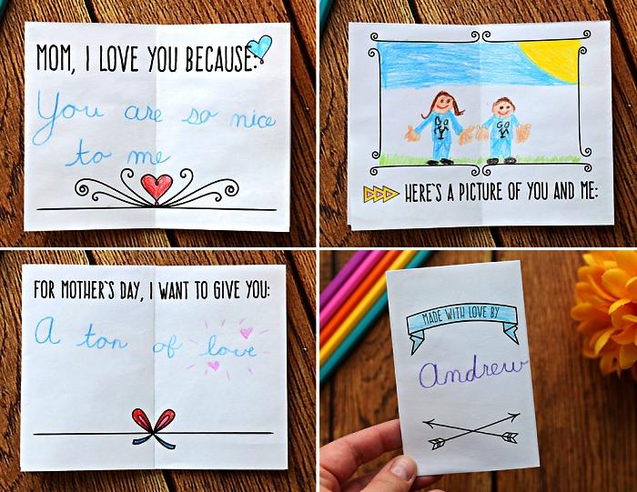 idées de carte bonne fete avec prenom, dessin personnalisé et des mots doux, modèles de cartes pour la fête des mères à fabriquer avec les enfants de la maternelle