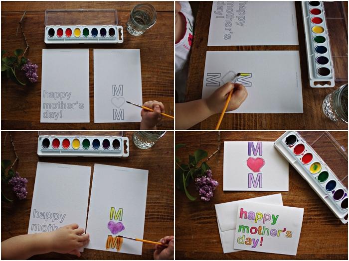 une carte personnalisée pour souhaiter bonne fête des mères avec lettres coloriées à l'aquarelle