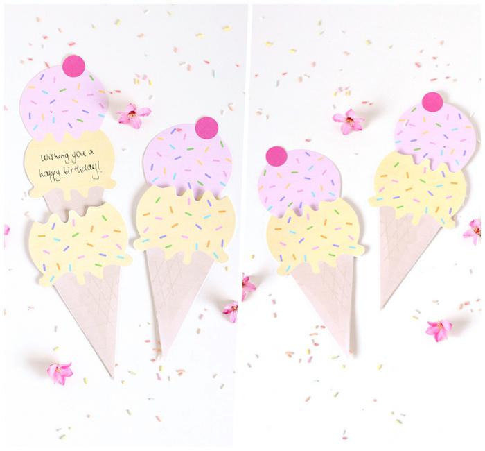 carte anniversaire originale en forme de glace et sa poche assortie, modèle de carte d'anniversaire personnalisée à faire imprimer