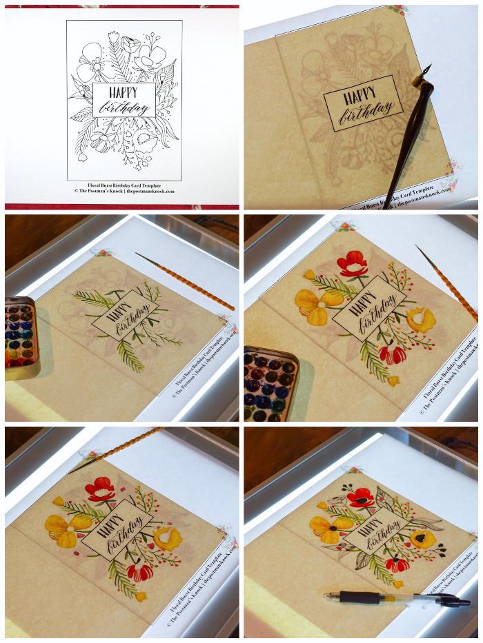 tutoriel pour recopier un dessin un dessin de fleurs sur une carte de voeux personnalisée à l'aide d'une table à dessin lumineuse, idée pour personnaliser une carte d'anniversaire fleurie avec lettrage manuscrit noir
