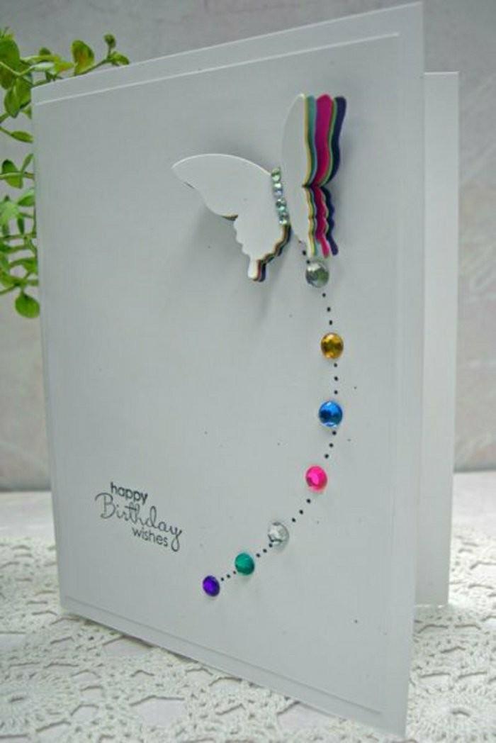 carte d'anniversaire à embellissements en 3d, carte de voeux ornée de papillon 3d et de petits cristaux en strass
