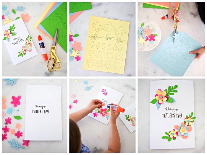 activité fête des mères à faire avec les enfants de l'école maternelle, carte pour la fête des mères décorée de fleurs en 3d à imprimer
