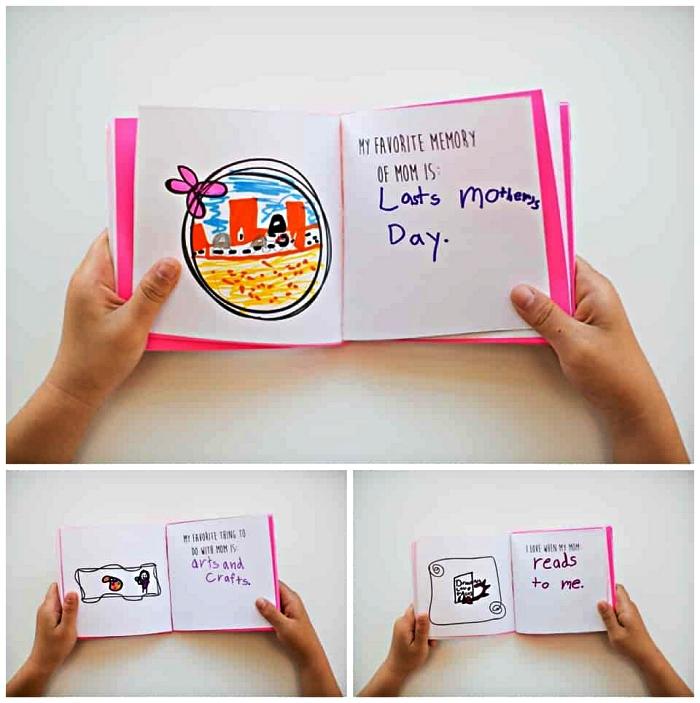 activité manuelle facile 3-5 ans à réaliser avec les enfants en maternelle, un carnet à dessins et à petits mots personnalisés à offrir pour la fête des mères