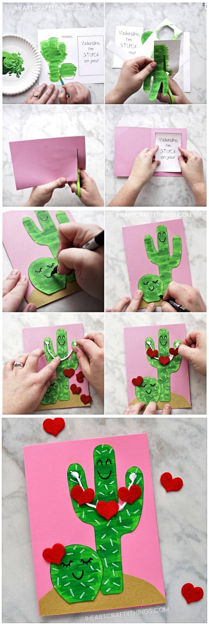 carte pour la fête des mères avec des cactus kawaii décorés de coeurs en papier, carte cactus à faire avec les enfants de la maternelle pour souhaiter bonne fête des mères