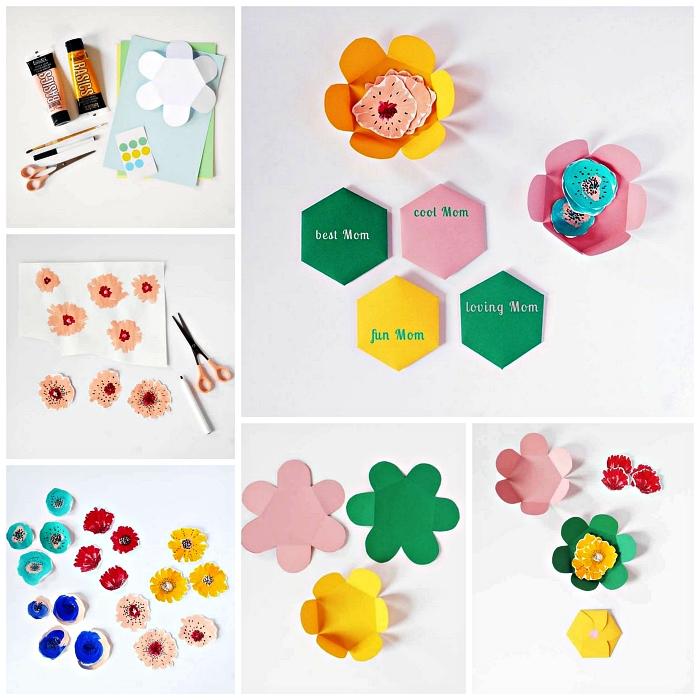 carte bonne fête des mères à imprimer en forme de fleur rose, vert et jaune avec message personnalisé à l'intérieur