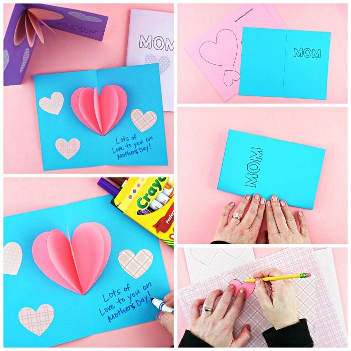 idée cadeau fête des mères maternelle à fabriquer soi-même, carte pop-up avec coeur en relief, modèle de carte fête des mères en maternelle à imprimer et à personnaliser