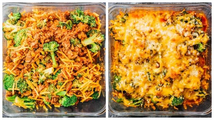 idee de casserole avec du boeuf haché, fromages et brocoli, idee quoi manger ce soir vite fait, regime dietetique