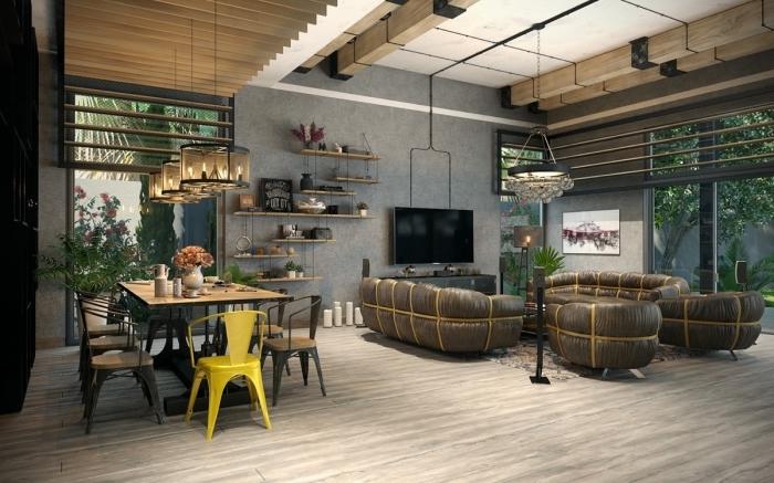 déco salle à manger ouverte vers le salon style industriel, déco loft avec plafond blanc à poutre apparente et murs béton