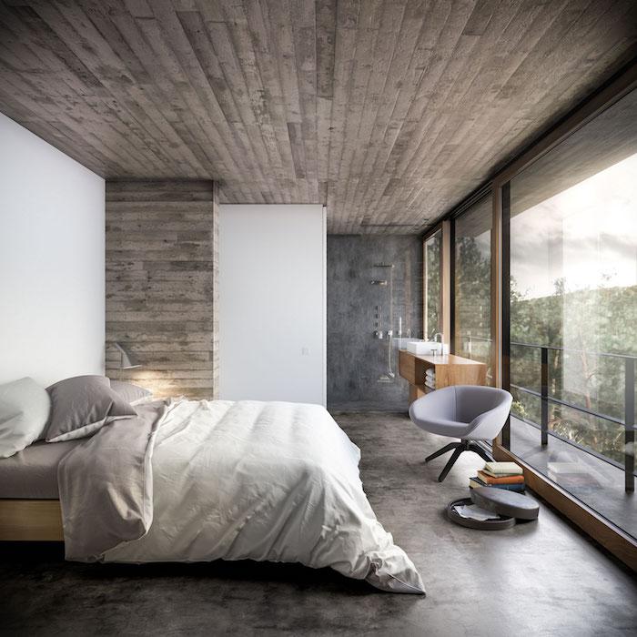 Belle vue d'une maison champetre, beau rangement chambre, comment décorer sa chambre, déco scandinave lit double, fauteuil gris