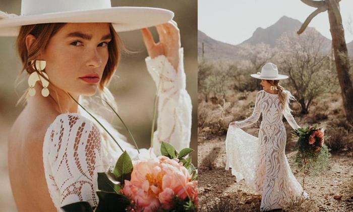 tenue mariée pour un mariage bohème, bouquet pivoine rose, robe dentelle dos nu, capeline blanche
